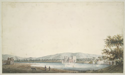 The town and lake at Jhalrapatan (Jhalawar), with a sepoy and peasants working an irrigation system in the foregound.